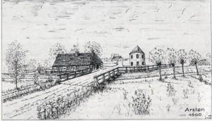 """Der Arster Turm – der Landwehrgraben und das Haus des """"Tornemann"""" Warnken, Zeichnung von Hermann Frese"""