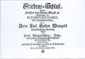 Habenhauser Friedensschluss Urkunde von 1666