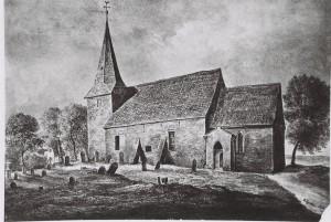 Die Arster Kirche mit altem Kirch-hof - Gemälde von Christian Grabau 1873