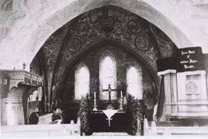 Chorraum mit dem Kirchenstuhl der Familie vom Hemm 1927