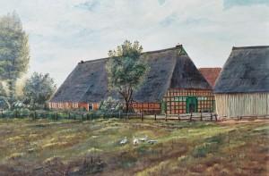 Willershof mit Storchennest, Arster Heerstraße 75 Gemälde von Hinrich Bolte nach 1945